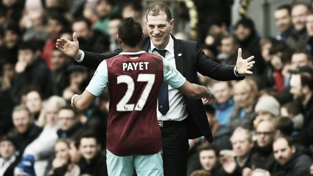 Above: West Ham United's Dimitri Payet and Slaven Bilic embracing each other | Photo: Sky Sports