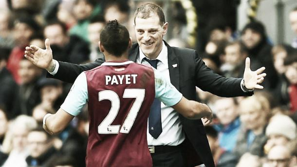 Above: West Ham United's Dimitri Payet with manager Slaven Bilic | Photo: Sky Sports