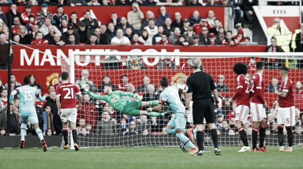 Above: Dimitri Payet scoring the opening goal in West Ham's 1-1 draw with Manchester United| Photo: The Mirror