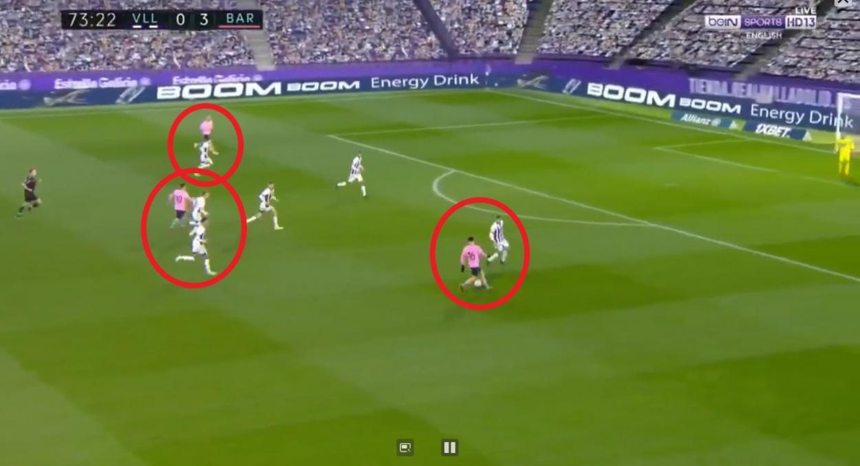 Messi y Pedri por dentro, mientras Braithwaite de extremo. Fuente: Fullmatchsports.co
