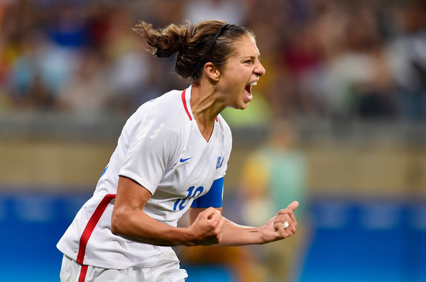 Carli Lloyd of the United States celebrating after scoring a goal at the Rio Olympics. Photo Credit: Pedro Vilela of Getty South America