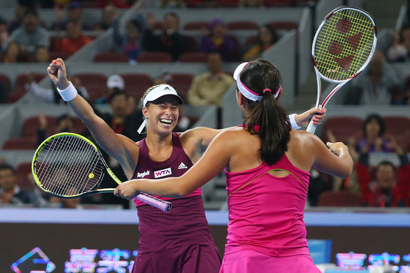 Hlavackova and Peng celebrates winning the title at Beijing in 2014 | Photo: Chris Hyde/Getty Images AsiaPac