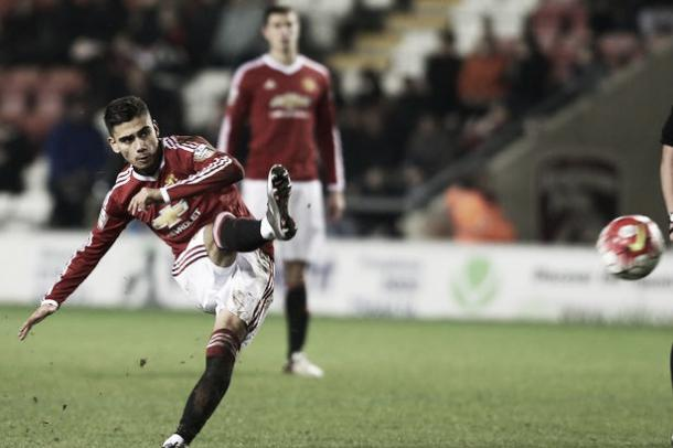Above: Andreas Pereira scores in Manchester United Under-21's 4-0 win over Oldham  image source: Manchester Evening News