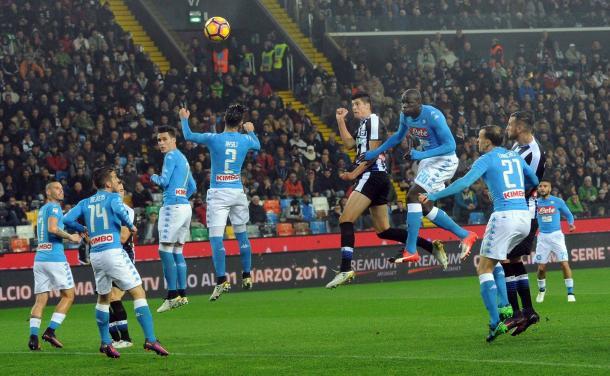 Perica segna l'1-2 dell'andata. Fonte: www.facebook.com/UdineseCalcio1896