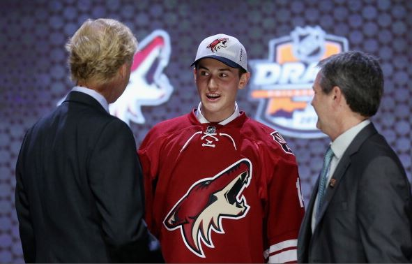 Brendan Perlini is selected twelfth by the Arizona Coyotes in the first round of the 2014 NHL Draft at the Wells Fargo Center on June 27, 2014 in Philadelphia, Pennsylvania. (Photo by Bruce Bennett/Getty Images