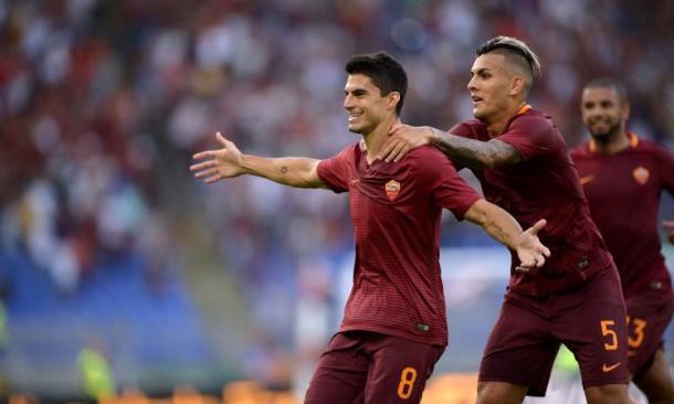 Diego Perotti dopo il primo gol della stagione. Fonte foto: calciomercato.com