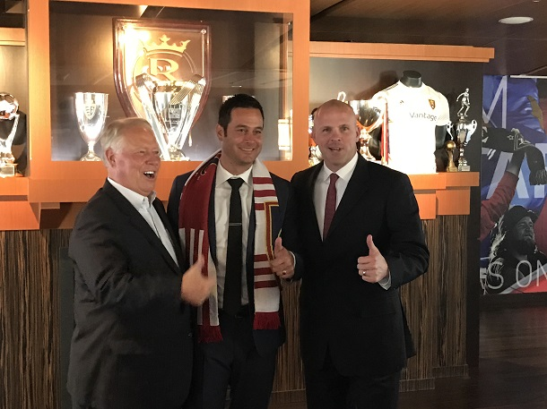 New Real Salt Lake head coach Mike Petke is flanked by club owner Dell Loy Hansen, left, and general manager Craig Waibel. | Photo: Heath Waddingham