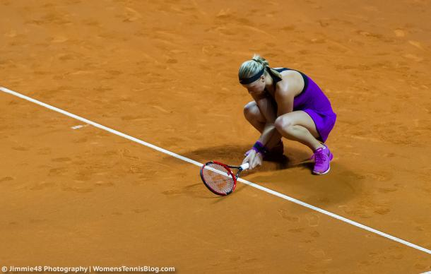 The first set did not go the way Kvitova would have wanted. Photo credit: Jimmie48 Tennis Photography.