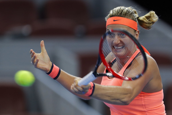 Petra Kvitova hits a forehand at the China Open in Beijing/Getty Images