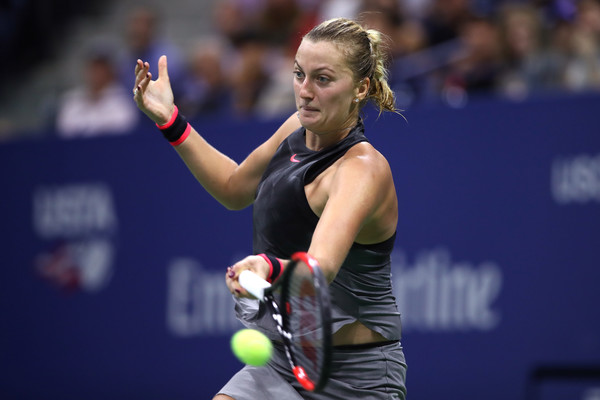 Petra Kvitova hits her trademark forehand during the late-night thriller in Arthur Ashe Stadium | Photo: Matthew Stockman/Getty Images North America