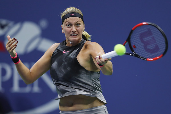 Petra Kvitova hits a forehand during the match | Photo: Elsa/Getty Images North America