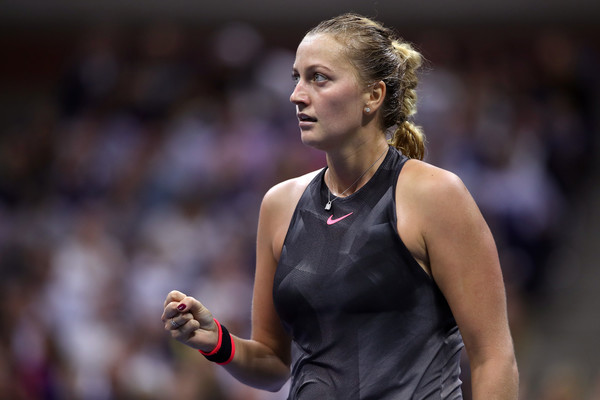 Petra Kvitova celebrates winning a point during her quarterfinal match against Venus Williams | Photo: Matthew Stockman/Getty Images North America