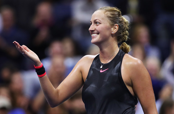 Petra Kvitova applauds the crowd after the win | Photo: Matthew Stockman/Getty Images North America