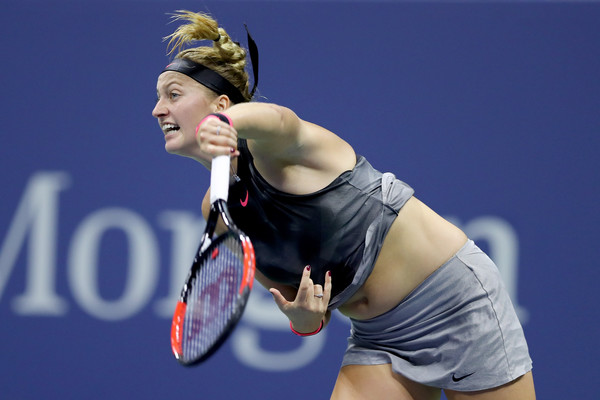 Petra Kvitova serves during the match | Photo: Elsa/Getty Images North America