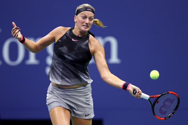 Petra Kvitova hits a forehand | Photo: Elsa/Getty Images North America