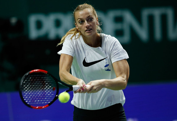 Petra Kvitova practices in the Singapore Indoor Stadium prior to the tournament | Photo: Yong Teck Lim/Getty Images AsiaPac