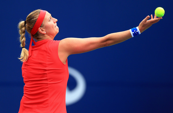 Petra Kvitova serves during her first round match | Photo: Vaughn Ridley/Getty Images North America