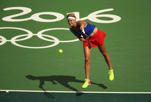 Petra Kvitova hits a serve during her semifinal match against Monica Puig at the Rio 2016 Olympic Games.   Photo: Clive Brunskill/Getty Images South America