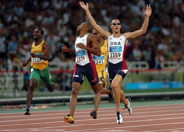 Jeremy Wariner celebrates after winning the Olympic title in 2004 (Getty/Phil Walter)