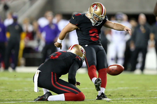 Phil Dawson #9 of the San Francisco 49ers, now a member of the Arizona Cardinals,  kicks a field goal against the Minnesota Vikings.  Sept. 13, 2015 - Source: Ezra Shaw/Getty Images North America 