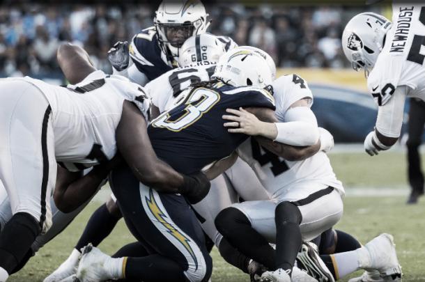La defensa de los Chargers acabó con dos fumbles y una intercepción | Foto: Chargers.com