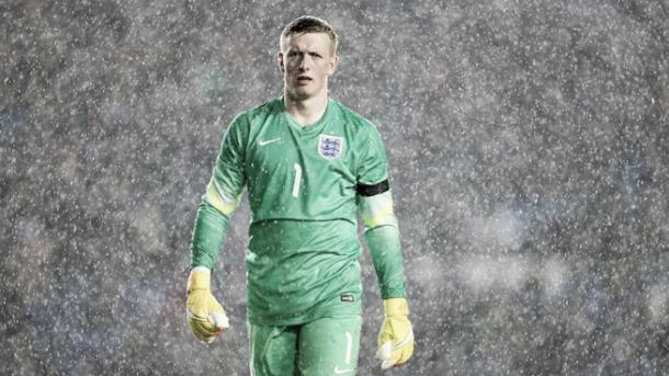 Pickford was in action for England U21s. (Picture: Getty)