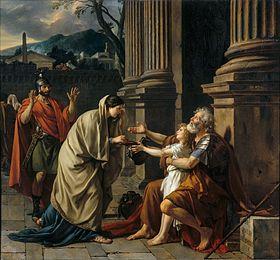 Imagen romantizada de Belisario cegado y pidiendo limosna. Fuente: Wikicomons