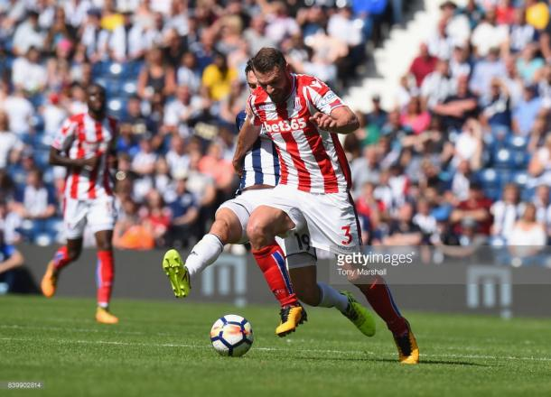 Pieters is brought down by Jay Rodriguez before the international break. Source | Getty Images.