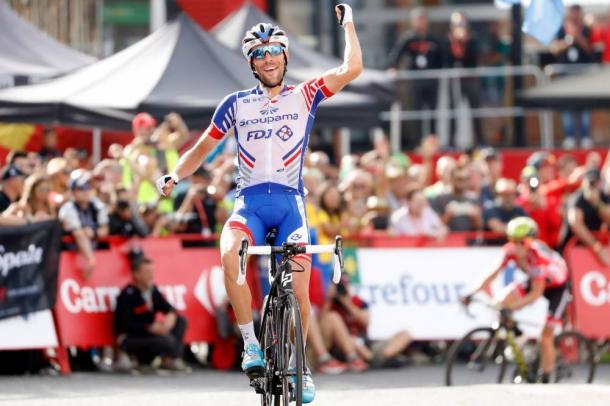 Thibaut Pinot, ganador en el Coll de la Rabassa. | Foto: La Vuelta