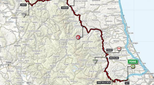 Planimetría etapa 10: Penne - Gualdo Tadino | Foto: Giro de Italia