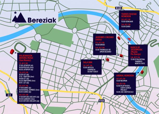 Plano de los escenarios del BBK Live Bereziak en Bilbao/ Fuente: web oficial de BBK Live