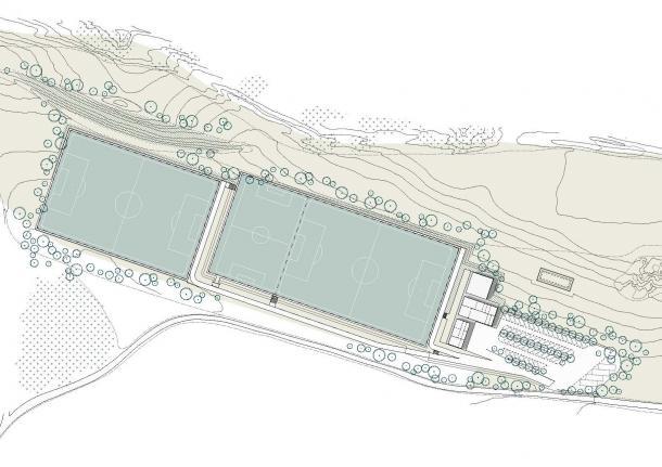 Plano de los nuevos campos de entrenamiento para el Girona en Caldes de Malavella. | Foto: Girona FC.