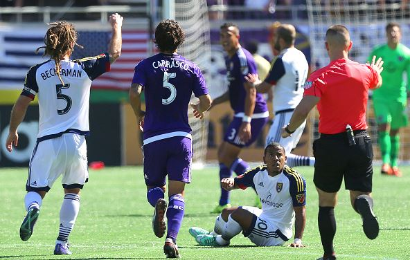 Joao Plata #10 of Real Salt Lake looks to the referee for a foul during a MLS soccer match between Real Salt Lake and the Orlando City SC at the Orlando Citrus Bowl on March 6, 2016 in Orlando, Florida. The game ended in a 2-2 draw. (Photo by Alex Menendez/Getty Images
