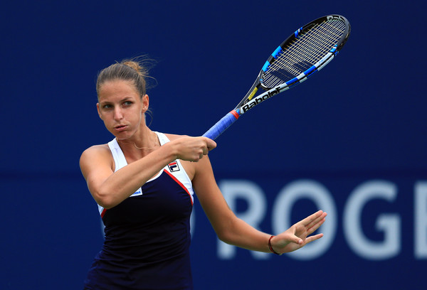 Karolina Pliskova hits a forehand on Friday in Toronto. Photo: Vaughn Ridley/Getty Images