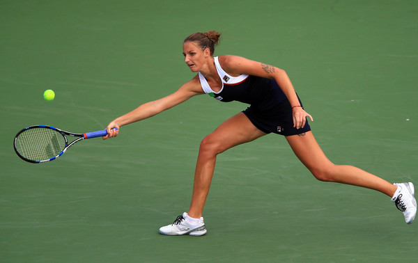 Pliskova lunges for a forehand during her quarterfinal in Toronto. Photo: Vaughn Ridley/Getty Images