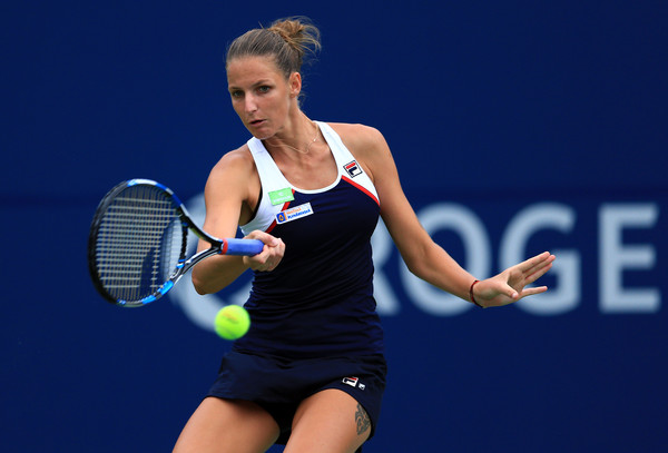 Pliskova rips a forehand during her quarterfinal loss. Photo: Vaughn Ridley/Getty Images