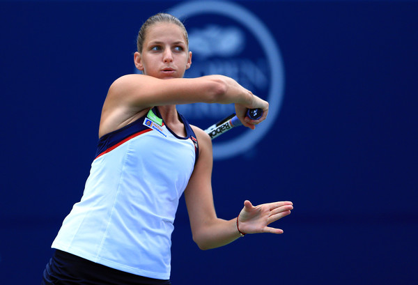 Pliskova follows through on a forehand in Toronto. Photo: Vaughn Ridley/Getty Images