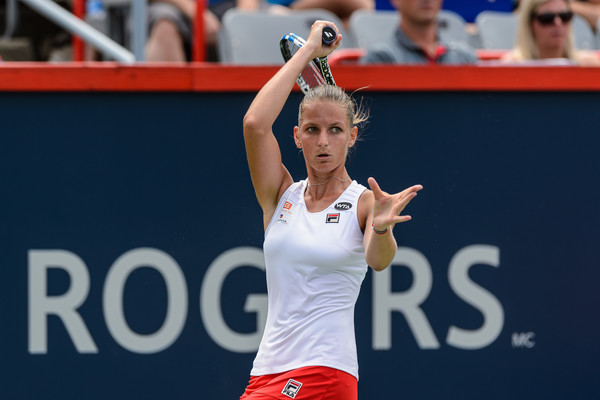 Karolina Pliskova hits a return last year in Montreal. Photo: Minas Panagiotakis/Getty Images