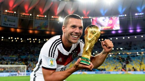 Podolski celebrates Germany's fourth World Cup win, in 2016 | Photo: Pinterest