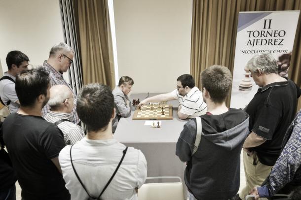 La partida entre Ponomariov y Espinosa tuvo mucha expectación. Foto: Madrid Chess Academy