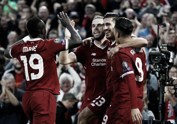 Los jugadores del Liverpool celebran uno de los goles ante el Hoffenheim
