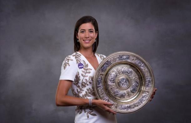 Garbine Muguruza after winning the Wimbledon title last weekend (Getty/Pool)