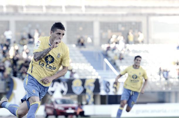 Portillo celebra un gol con la camiseta de la UD Las Palmas | Foto: Udlaspalmas.net