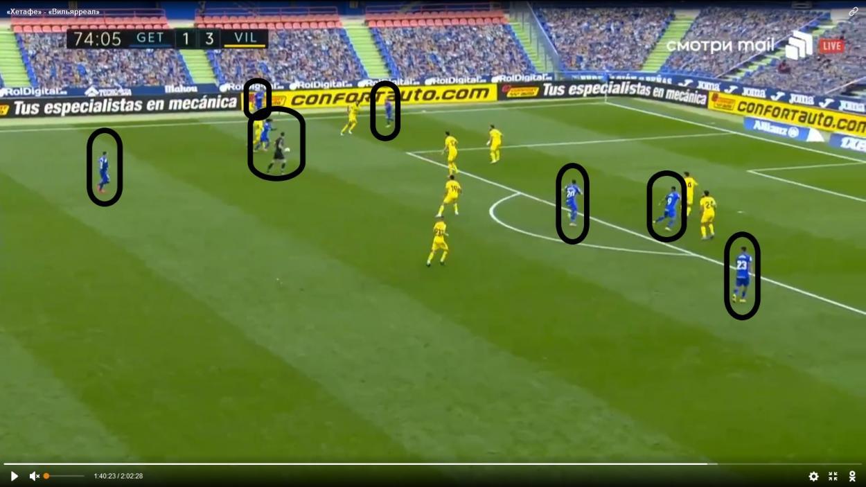 Aquí se observa la posición adelantada de Maksimovich. Fuente: Livetv.sx