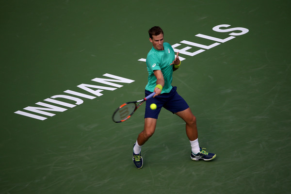 Pospisil plays a forehand during a match in Indian Wells in March. Photo: Sean Haffey/Getty Images