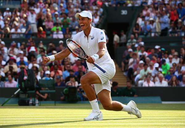 Pospisil celebrates his epic third round win last year at Wimbledon. Photo: Ian Walton/Getty Images