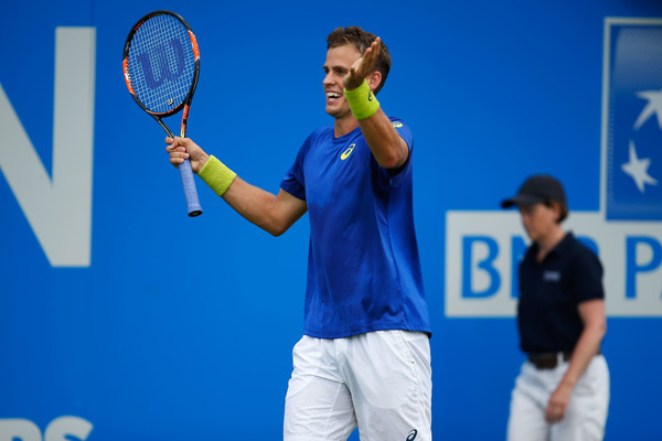 Pospisil reacts to missing a shot during qualifiers at the Queen's Club. Photo: Joel Ford/Getty Images