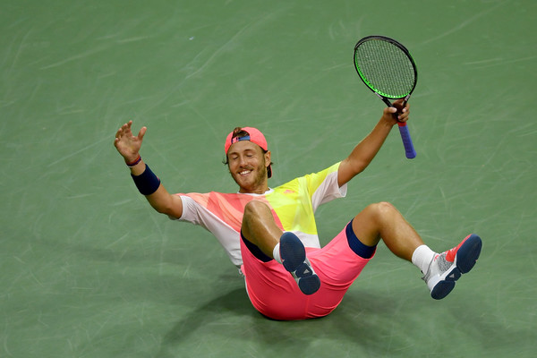 Lucas Pouille celebrates his upset win over Rafael Nadal at the US Open. Photo: Mike Hewitt/Getty Images