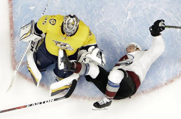 The Nashville Predators toppled the Colorado Avalanche to take a 2-0 lead in the their series.  (AP Photo/Mark Humphrey)