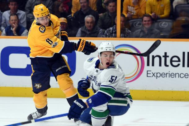 The Nashville Predators are on a roll, and the Vancouver Canucks found that out on December 13, 2017. (Photo: Christopher Hanewinckel-USA TODAY Sports